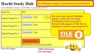 Upload Multiple Images and Save into Database with Asp.Net C# | Hindi | Free Online Classes