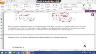 aöf arapça 4 2017 ara sınav soru çözümü