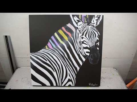 Zebra Abstract Painting - Close Up