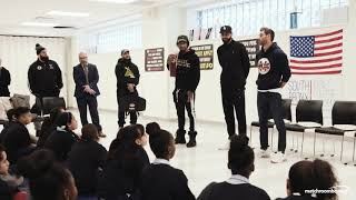 Andrade and Algieri visit the South Bronx Early College to inspire students