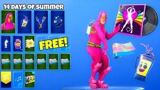 All *FREE* Fortnite Rewards Showcase..! (14 days of summer LEAKED)