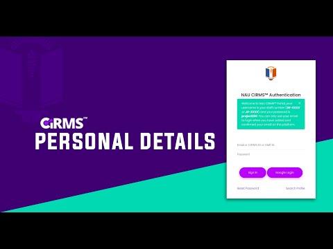 Download CIRMS Personal Details Setup