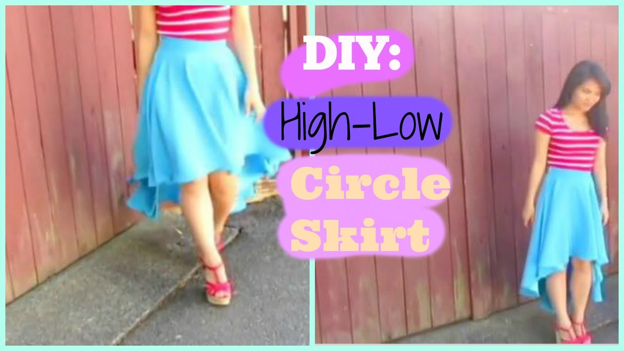 How To Make High Low Circle Skirt With A Zipper W No Pattern Youtube