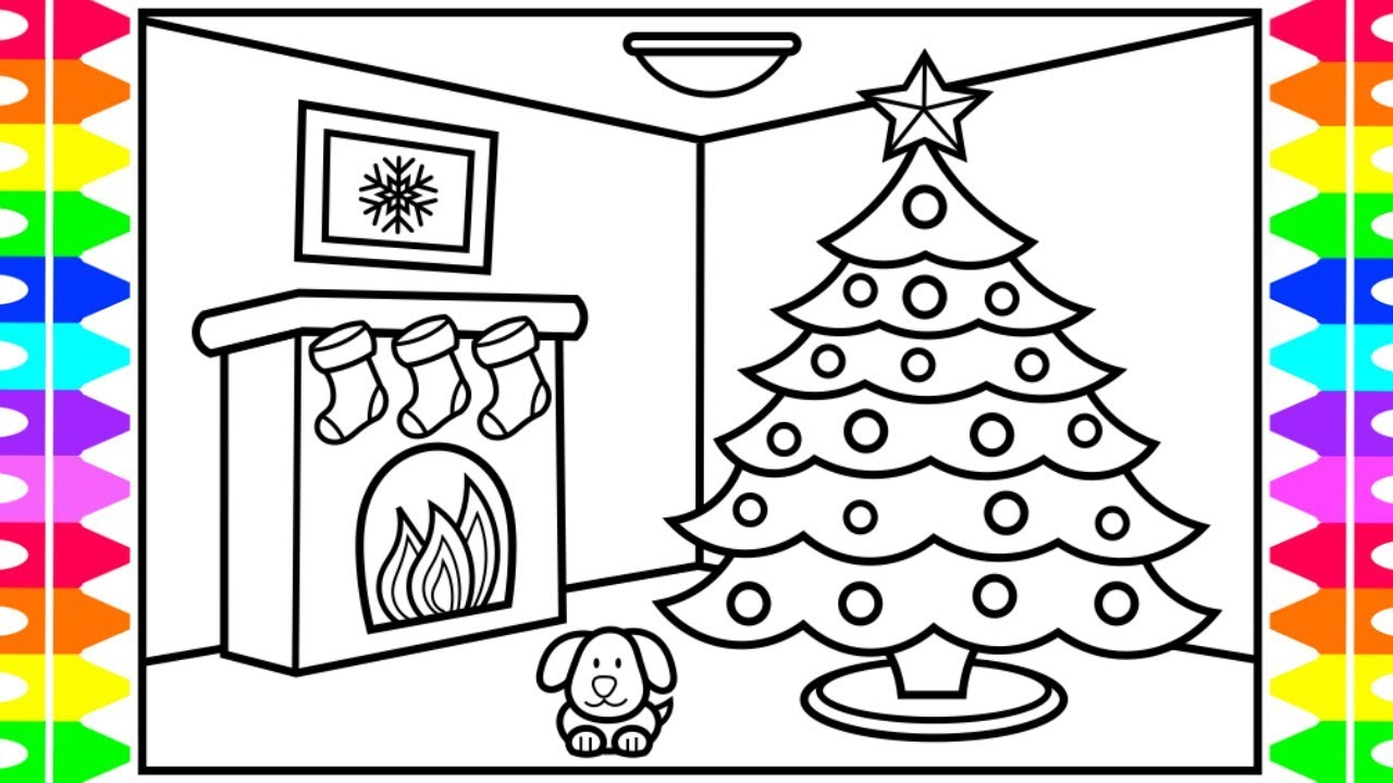 Happy Holidays How To Draw A Christmas Tree For Kids Christmas Coloring Pages For Kids