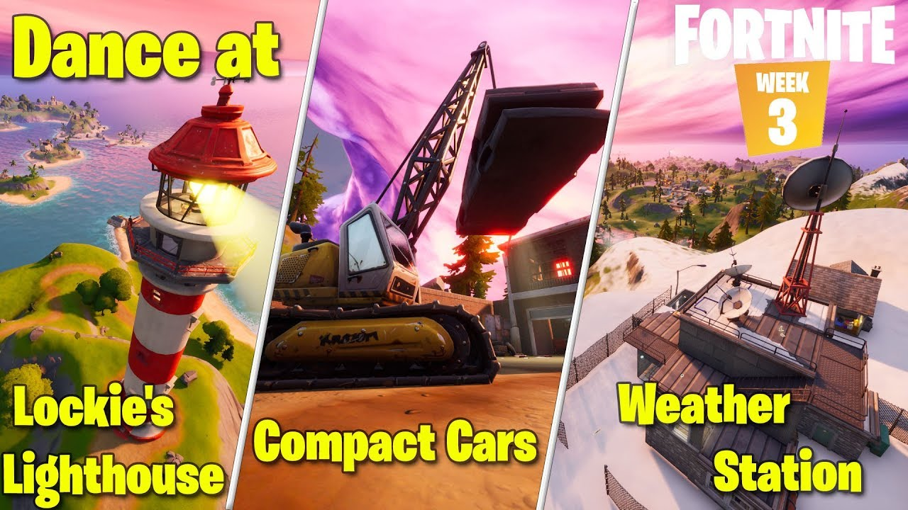 Dance At Compact Cars Lockies Lighthouse And Weather Station Fortnite Chapter 2 Week 3 Challenge