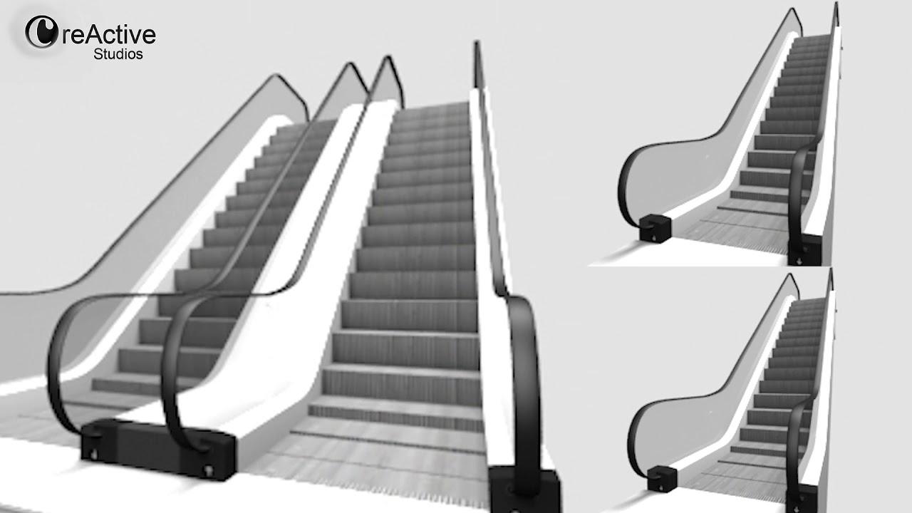 escalator animated download 3d model