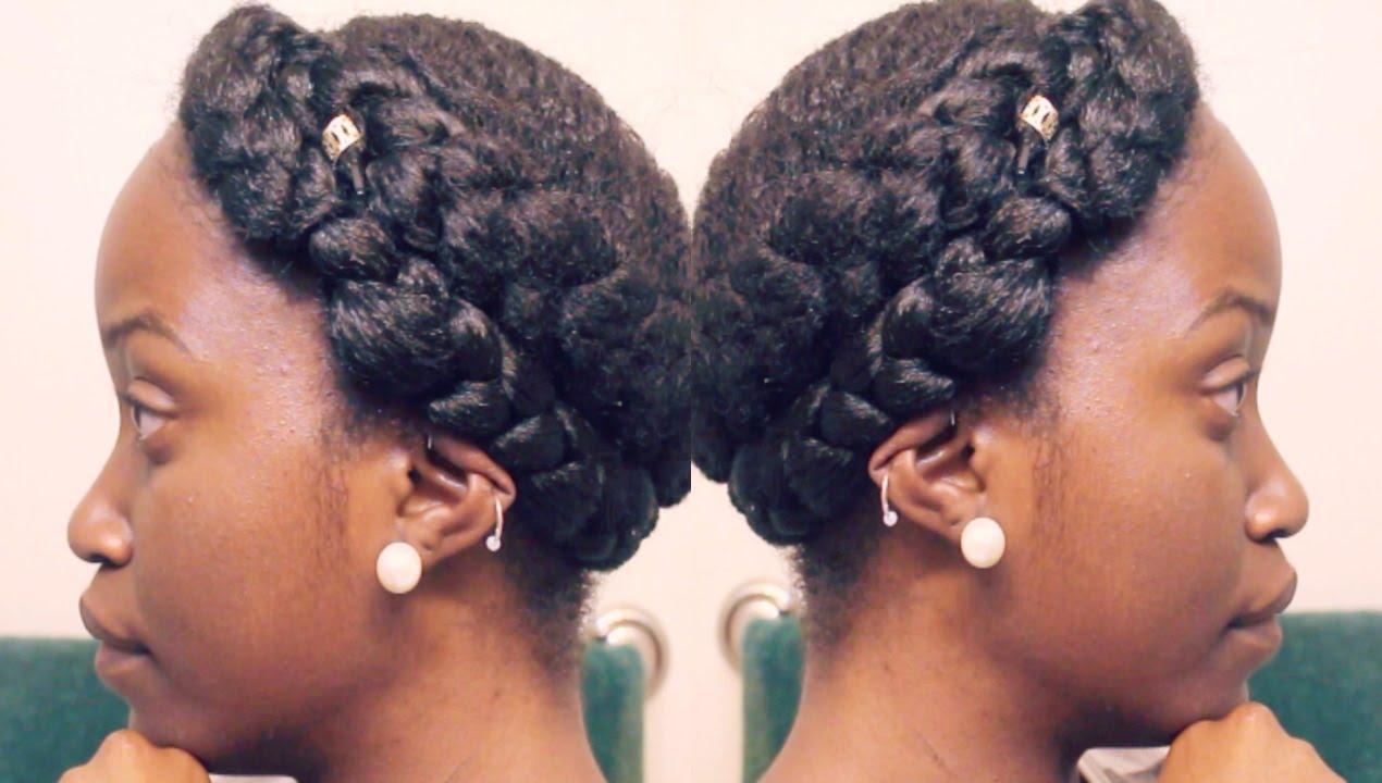 GODDESS BRAIDS ON SHORT NATURAL HAIR! CROWN/HALO BRAID ...
