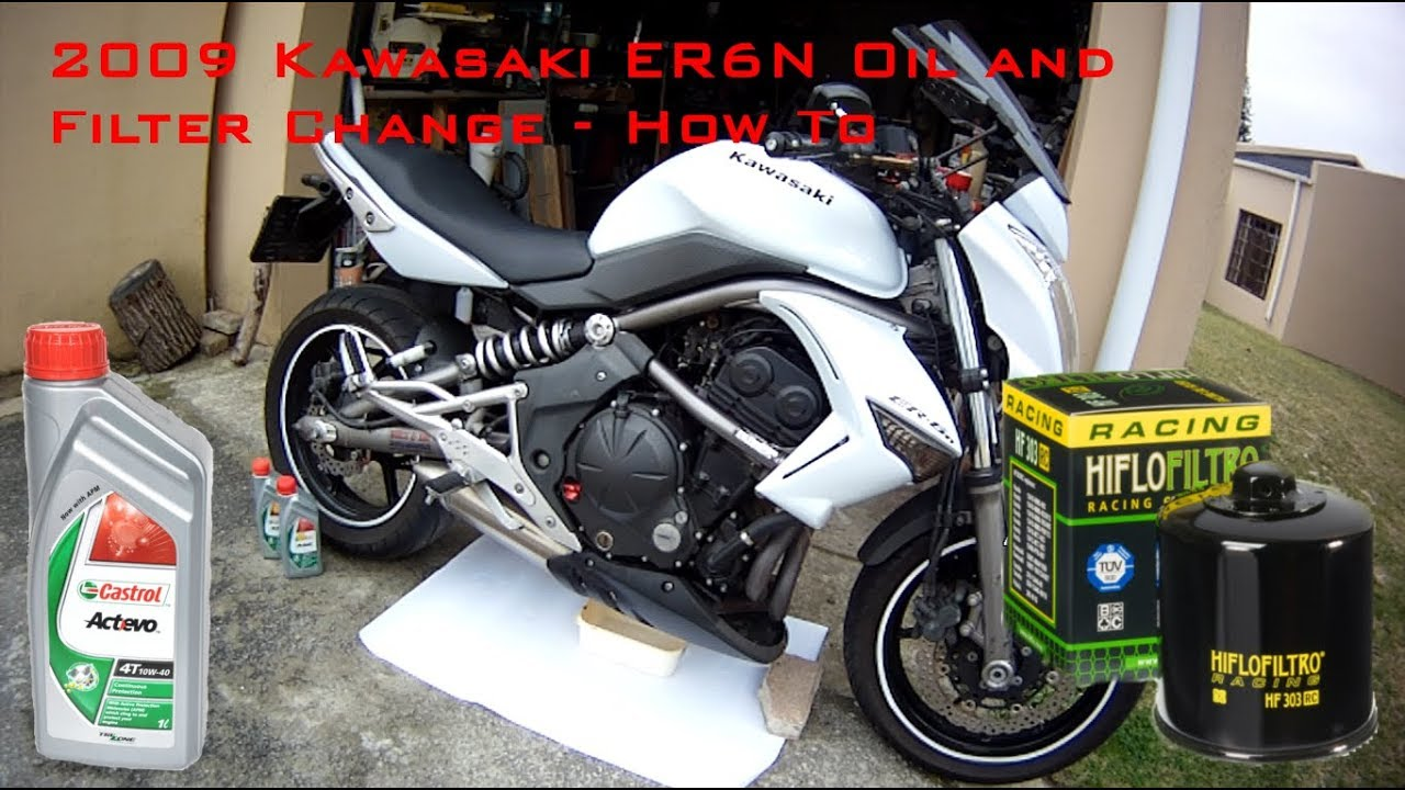 2009 Kawasaki Er6n Oil And Filter Change Youtube