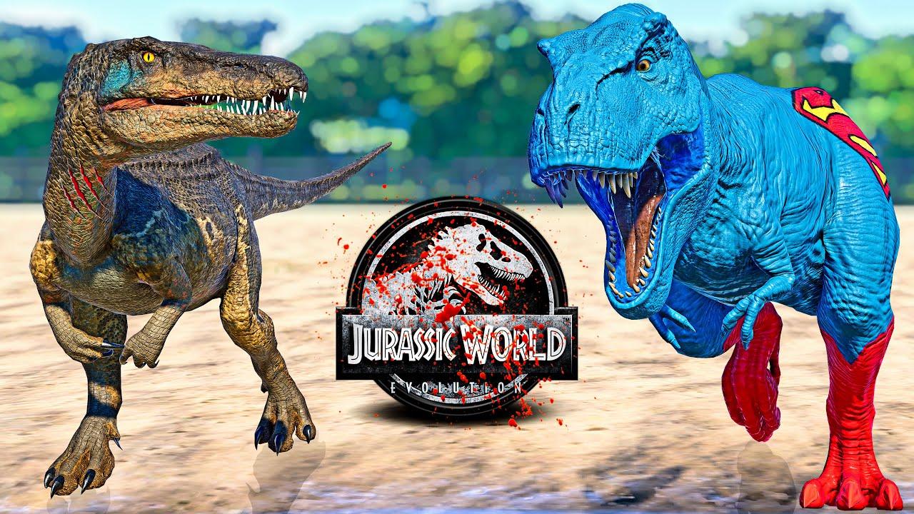 Superman T-REX vs Baryonyx Chaos, Hulk Godzilla, Ultimasaurus Fighting! - JURASSIC WORLD EVOLUTION
