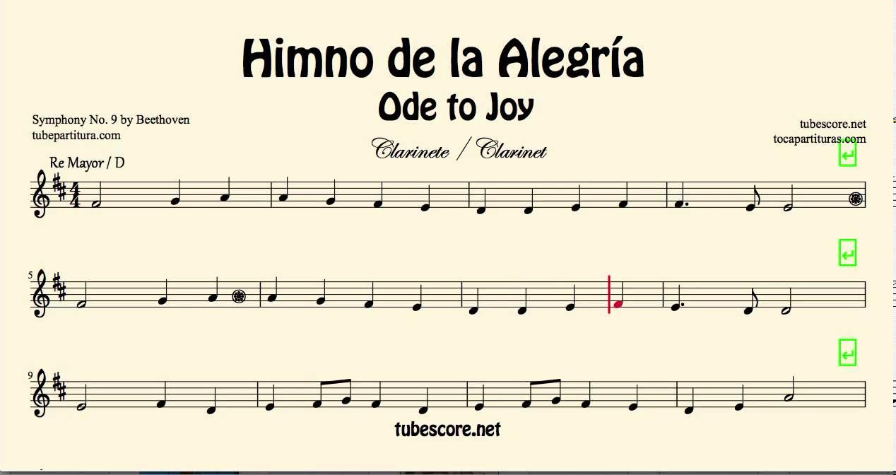 Himno De La Alegria Partitura De Clarinete Ode To Joy En Re Mayor Partitura En Descripcion Youtube