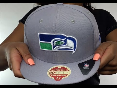 Seahawks  NFL THROWBACK WOOL-STANDARD  Grey Fitted Hat by New Era ... 6e99cc11861