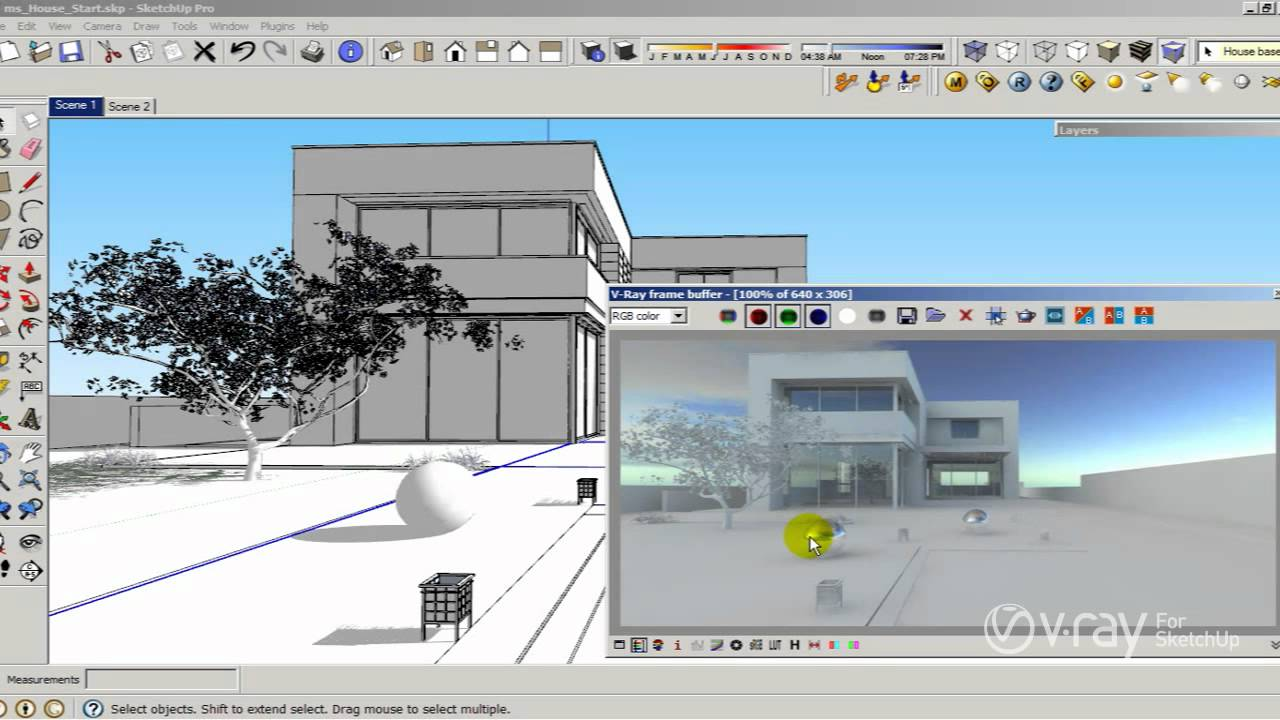 V-Ray for SketchUp - How to use HDRI and sun settings - tutorial