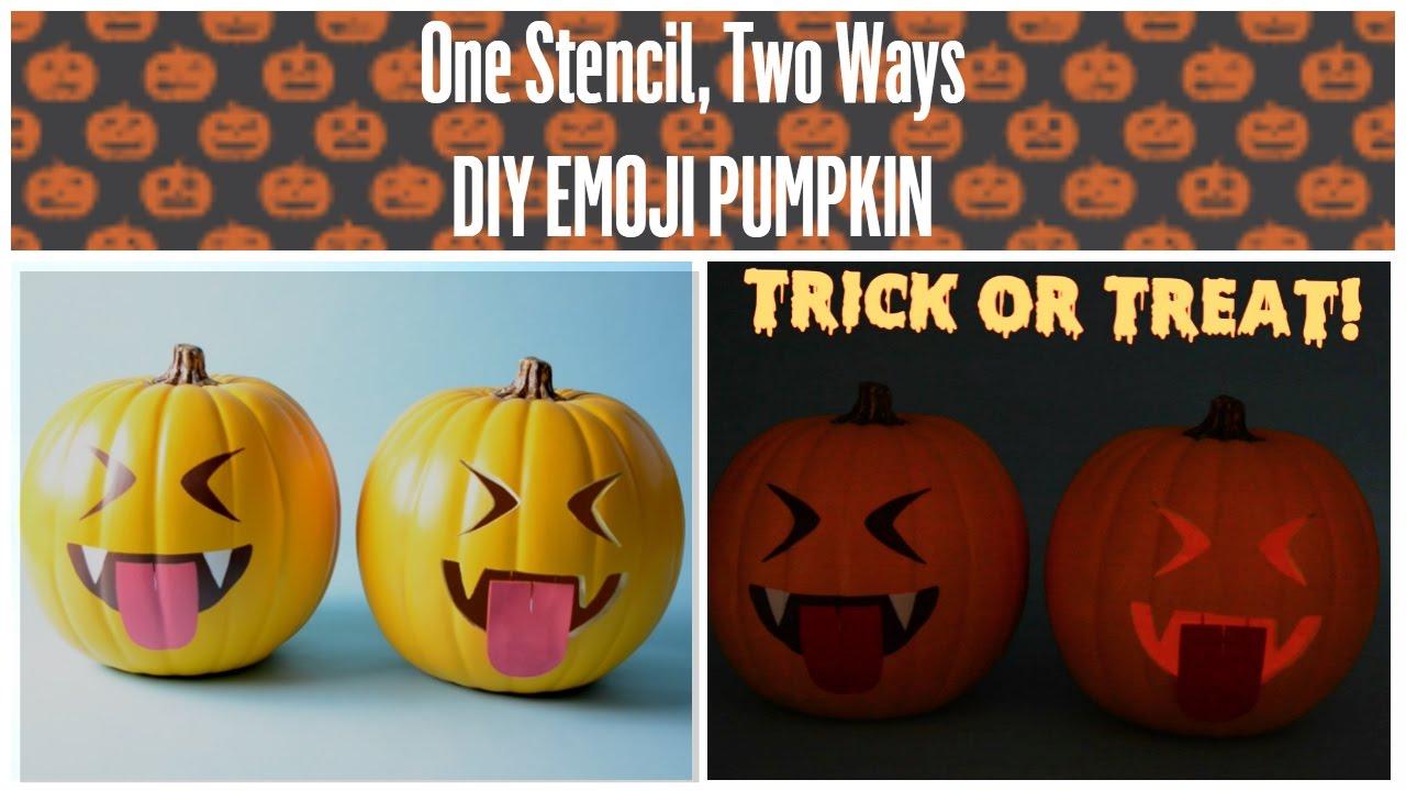 Diy Halloween Stenciled Vampire Emoji Pumpkin