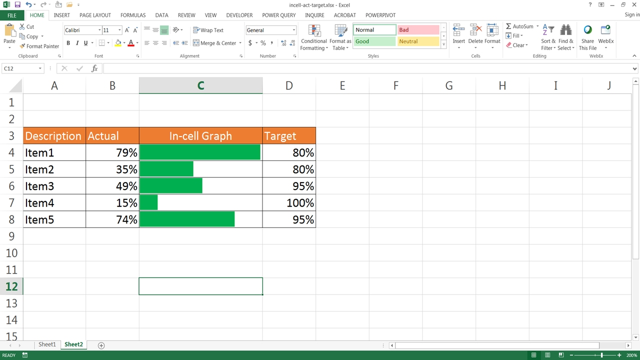 Create an in cell actual versus target chart also youtube rh