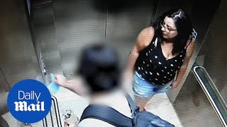 Woman enters a lift with an unknown man before vanishing