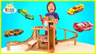 How to Make Cardboard Toy Car Garage Playset with lift for Hot Wheels and Disney Cars