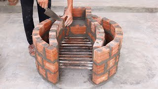 Build A Beautiful Smokeless Wood Stove With Red Bricks And Cement