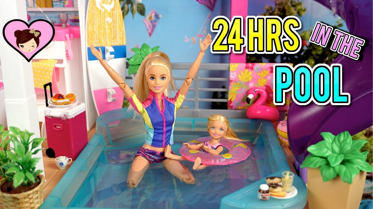 Barbie Doll 24 Hour Challenge Overnight In Her Swimming