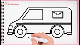 How To Draw Van Step By Step Learn Drawing Mail Van Very Easy And Simple For Kids