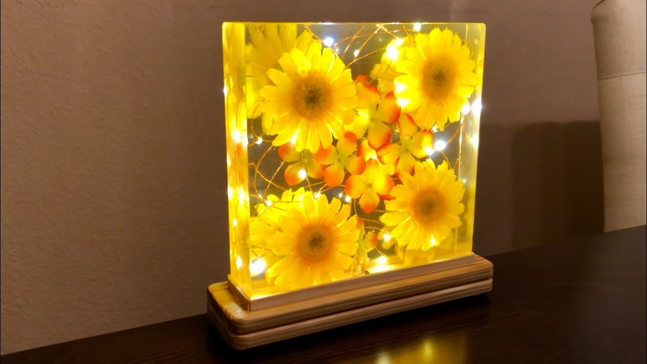 Epoxy Resin Flower Night Lamp Flowers In Resin Diy Resin Art Youtube