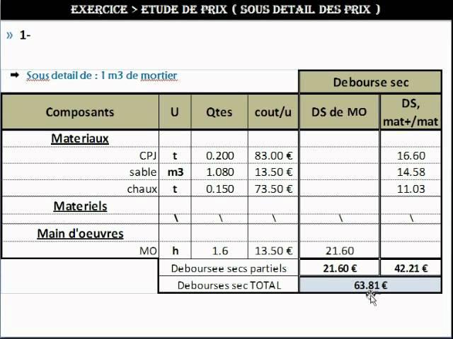 Exercice : Etude De Prix / Sous Détail Des Prix Du00271 M2 De Mur En BBM    YouTube
