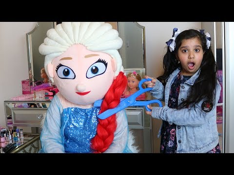 شفا قصت وصبغت شعر السا !!!! shfa pretend play make up toys