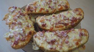 Рецепт мини - пиццы! Вкусно и быстро!(горячие бутерброды)перезалив