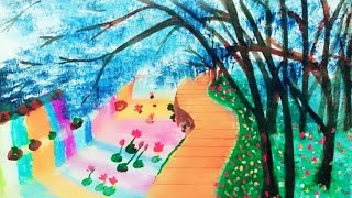 How to draw a beautiful place forest scenery step by step very eassy acrylic painting.