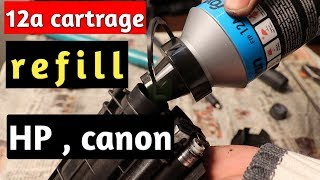 how to refill 12a cartrage in hindi / HP/Canon Laserjet P1005 Toner Cartridge Refill