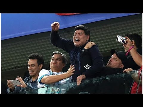 Diego Maradona 'fine' after being treated by paramedics, showing middle fingers in Argentina win