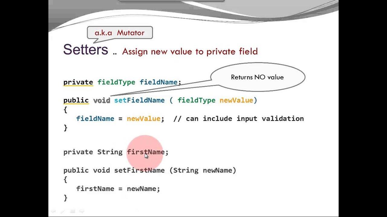 Java Basics Fields Getters Setters Youtube
