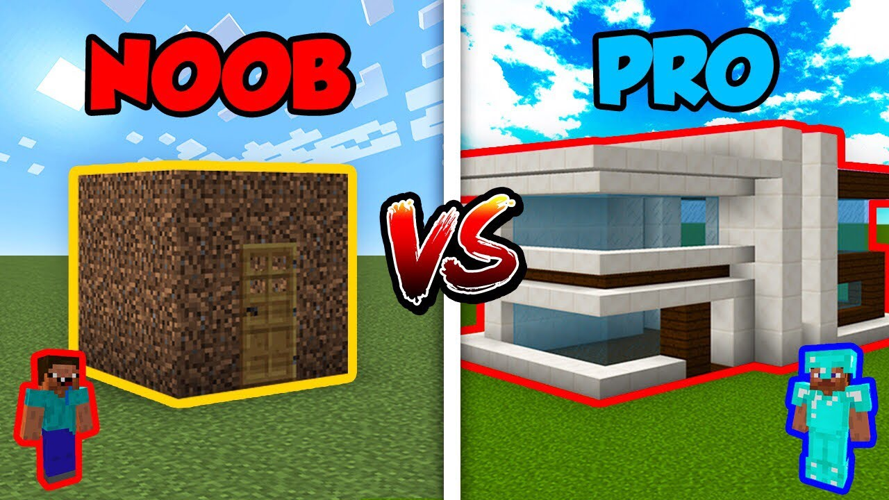 Minecraft Noob Vs Pro Modern House In Minecraft Youtube