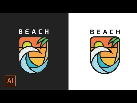 Illustrator Tutorial - Beach and Ocean Icon Flat Design (Illustrator Icon Flat Design)