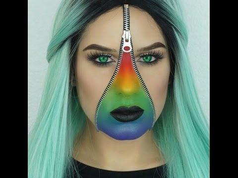 Zipper Face Halloween Makeup Tutorial - YouTube