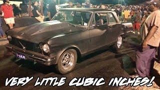 A OLD 327 WITH DOUBLE HUMP HEADS & A LITTLE NITROUS IN THIS NOVA AND NOBODY BELIEVES IT!!