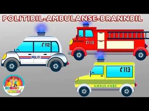 Politibil Ambulanse Brannbil   kjøretøyene for småbarn  Barnesanger på norsk   Norske Barnesanger