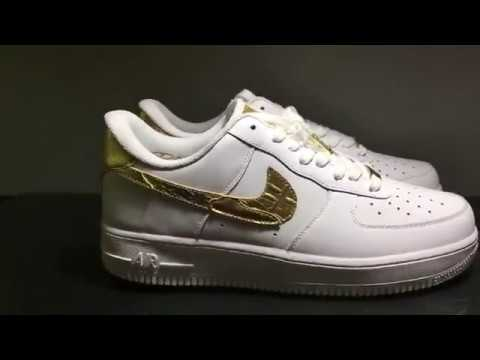 online retailer 7853f 90c4a Nike Air Force 1 CR7 Golden Patchwork AQ0666 100 - YouTube