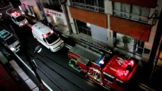 PA連携救助活動現場に到着した、神田救急と日本医科大学付属病院高度救...