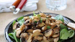 Вкусный рецепт.Постный салат с грибами и фасолью