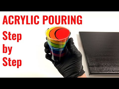 Acrylic pouring for beginners - Step by Step - Chakra colors