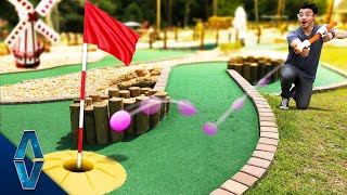 Playing Mini Golf With NERF Blasters!