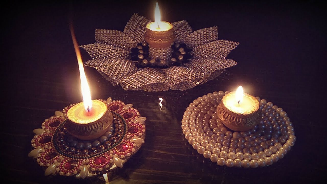 how to make diya holder with cd\diy diwali decoration ...