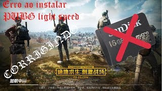 Erro ao instalar PUBG Mobile Light Speed como corrigir