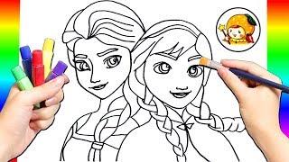 リカちゃんが塗り絵に挑戦♪ディズニープリンセスのアナとエルサを描くよ♡英語の色を覚えよう⭐︎