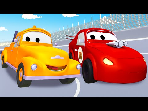 Tom The Tow Truck and his friends, the red racing car, the helicopter and more trucks and cars