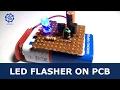 Flashing LED circuit using transistors on PCB Basic Electronics Projects