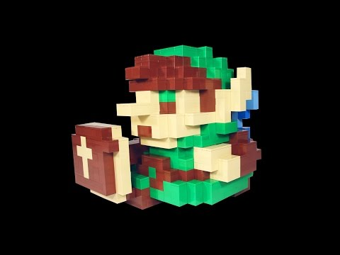 How to Build Huge LEGO Link from Legend of Zelda | 3D Voxel 8-Bit Link
