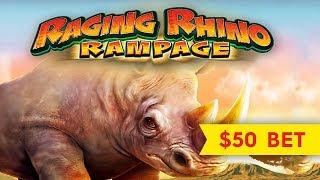 Raging Rhino Rampage Slot - GREAT SESSION, 50-SPIN WHEEL BONUS!