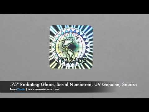 "Hologram - 0.75"" Radiating Globe, Serial Numbered, UV Genuine, Square"