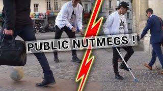😆😆AMAZING PUBLIC NUTMEGS WITH CRUTCH - PRANK !